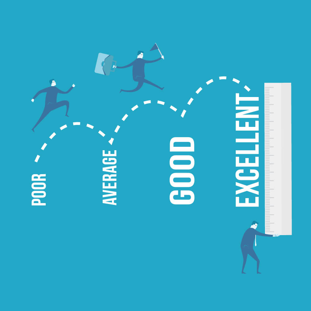 Graphic of a man leaping from poor to excellent showing how new managers can help team performance